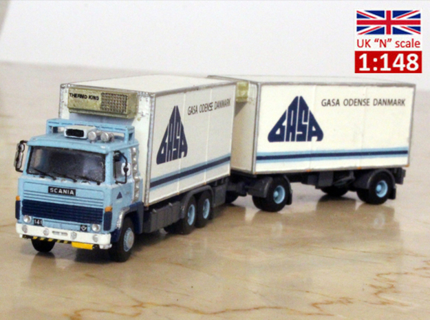 Scania 141 refrigerated lorry 1:148 scale in Smoothest Fine Detail Plastic