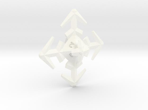 Snowflake D8 in White Processed Versatile Plastic