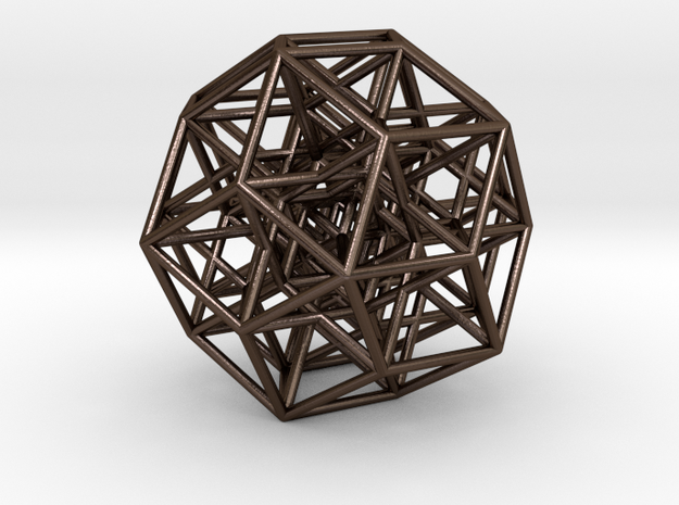 6D Cube projected into 3D in Polished Bronze Steel