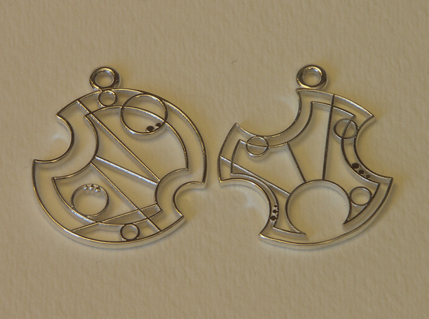 Gallifrey Earrings in Polished Silver