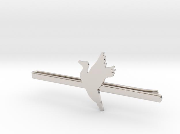Duck 1 Tie Clip  in Rhodium Plated Brass