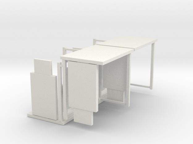 HO/1:87 Bus Shelter 4 pack in White Natural Versatile Plastic