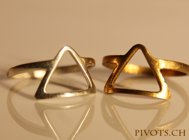Dark Side Triangle Ring in Raw Brass