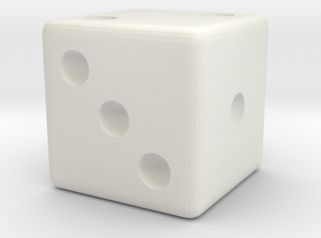 Weighted Dice (Favors a Roll of 2)  in White Natural Versatile Plastic