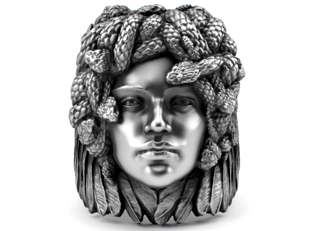 Medusa - Detailed Sterling Silver Ring in Polished Silver: 7 / 54