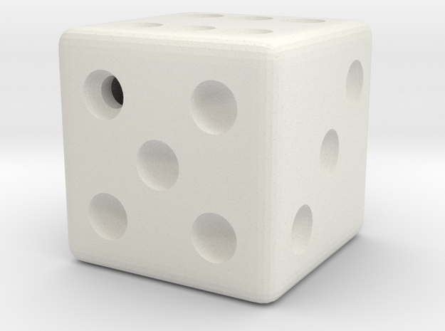 Weighted Dice (Favors a Roll of 5) in White Natural Versatile Plastic