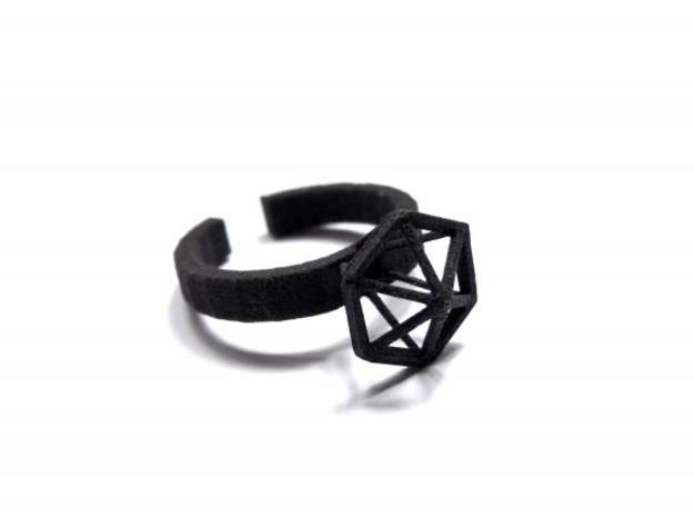 Stereodiamond Ring in Black Natural Versatile Plastic