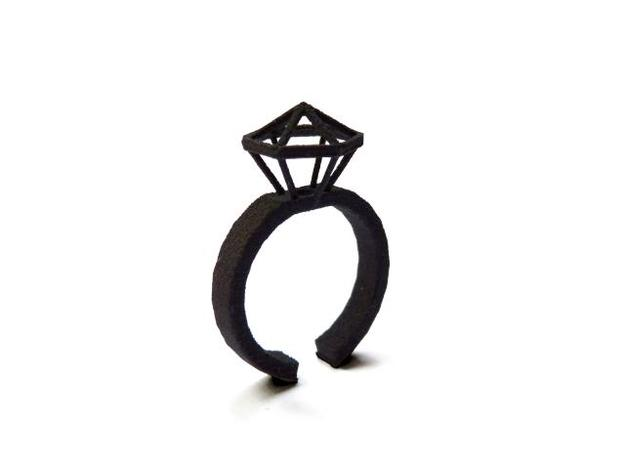Stereodiamond Ring 3d printed 2