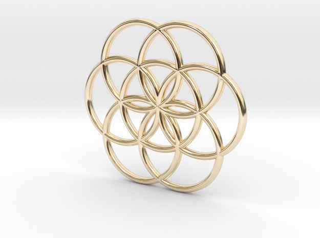Flower of Life Seed Pendant Small in 14k Gold Plated Brass