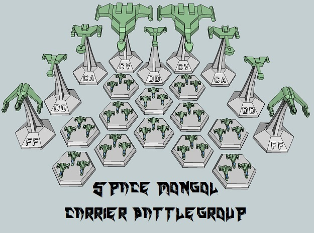 MicroFleet Space Mongol Carrier Group (21pcs) in Smooth Fine Detail Plastic