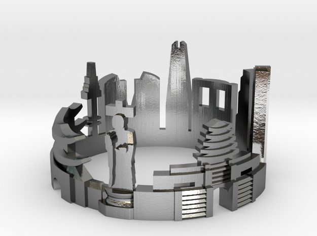 Seoul Skyline - Cityscape Ring in Polished Silver: 8 / 56.75