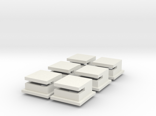 1/285 Omaha Beach Block House Set Of 6 in White Natural Versatile Plastic