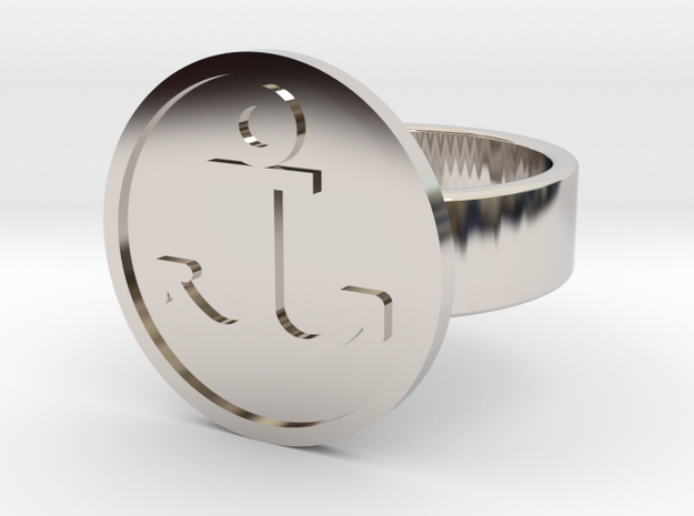 Anchor Ring in Rhodium Plated Brass: 10 / 61.5