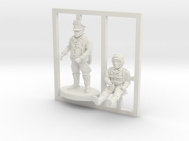 BF109 Pilots,1/56 scale,28mm wargames in White Strong & Flexible