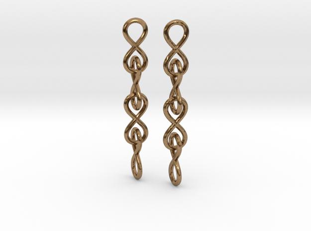 Infinity Chain Earrings in Interlocking Raw Brass