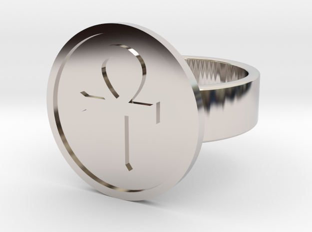 Ankh Ring in Rhodium Plated: 10 / 61.5