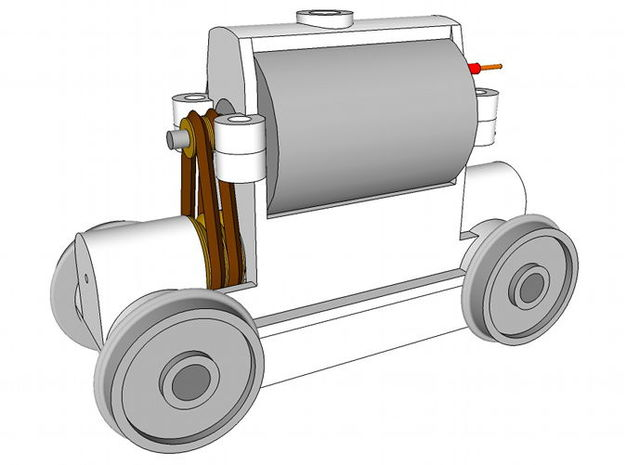 TT Truck 9' wheelbase 10mm Motor in White Natural Versatile Plastic
