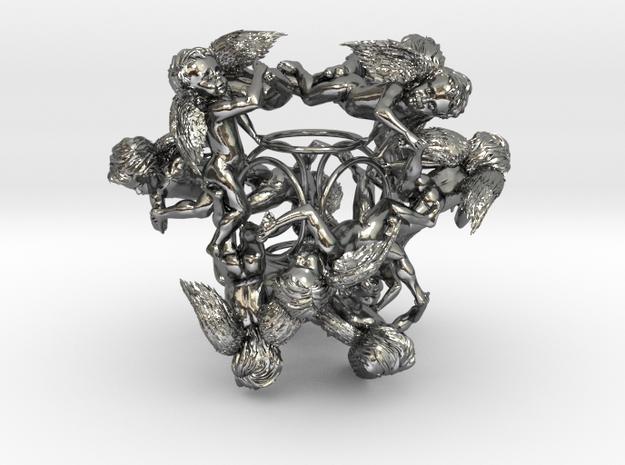 Cherub Tetrahedron in Polished Silver
