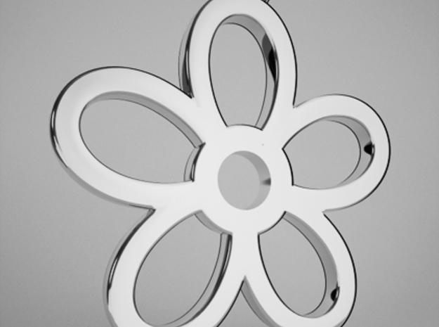 Daisy Pendant in Fine Detail Polished Silver