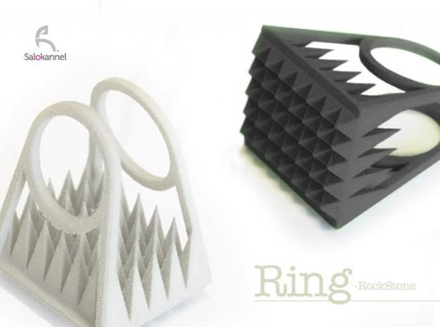 RockStone - ring (sizes 5-9) 3d printed Pure Black & White