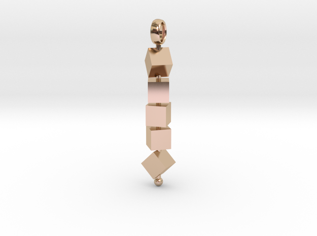 Totem of Cubes (Still) in 14k Rose Gold Plated Brass