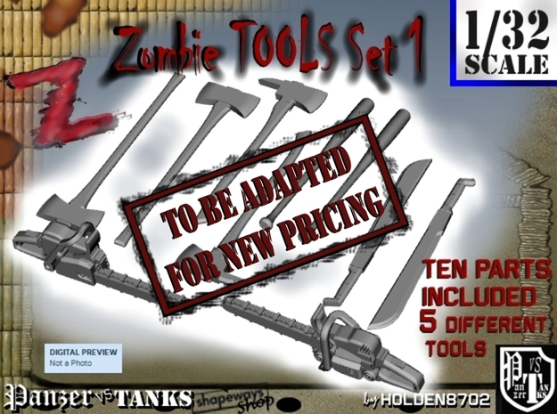 1-32 Zombie Tools Set 1 in White Strong & Flexible