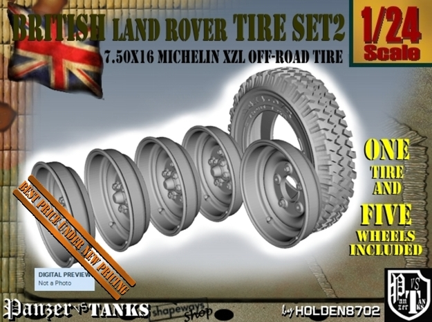 1-24 Land Rover 750x16 Tire And Wheels Set2 in Frosted Ultra Detail