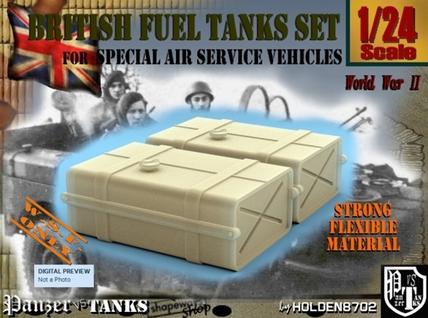 1-24 SAS Jeep Fuel Tanks in White Strong & Flexible
