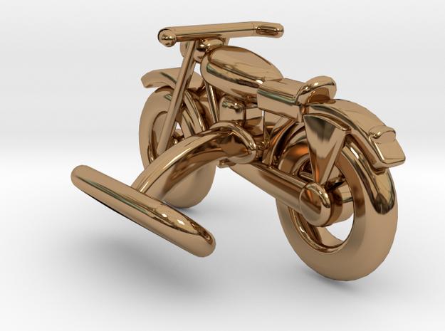 Motorcycle Cufflink in Polished Brass