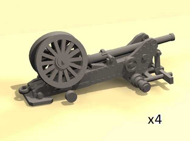 1/220 Bange cannons for train transport x4 in Smooth Fine Detail Plastic