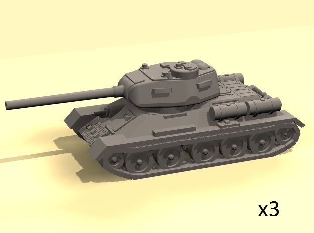 1/220 T-34-85 tank in Smooth Fine Detail Plastic