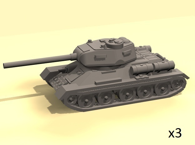 1/100 T-34-85 tank in White Strong & Flexible