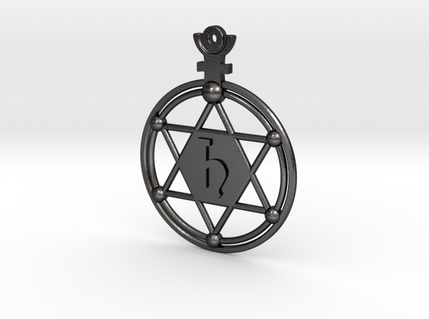 The Saturn (steel pendant) in Polished and Bronzed Black Steel