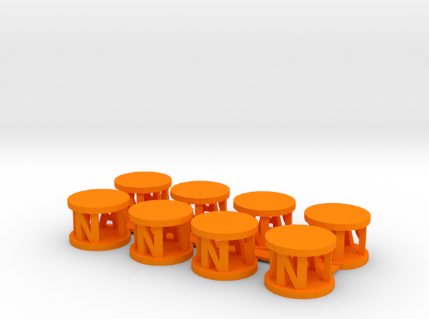 Alpha Pawns in Orange Processed Versatile Plastic
