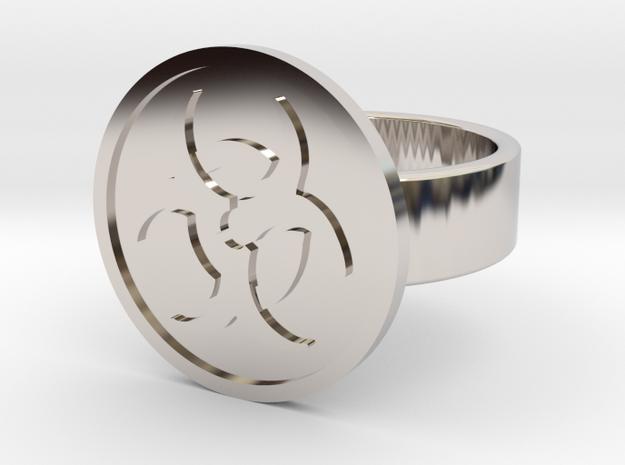 Biohazard Ring in Rhodium Plated Brass: 10 / 61.5