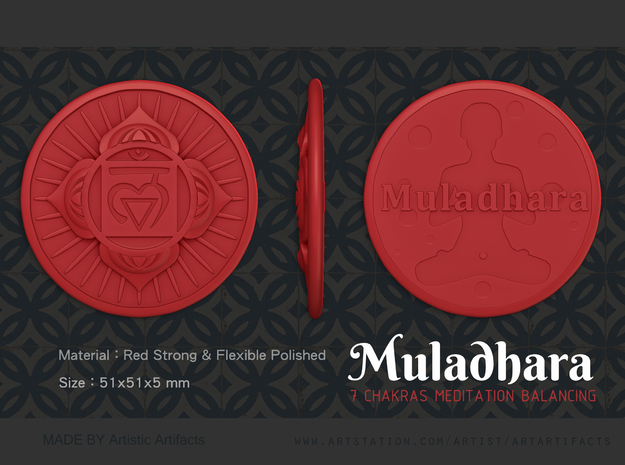 Root Chakra or Muladhara in Red Processed Versatile Plastic