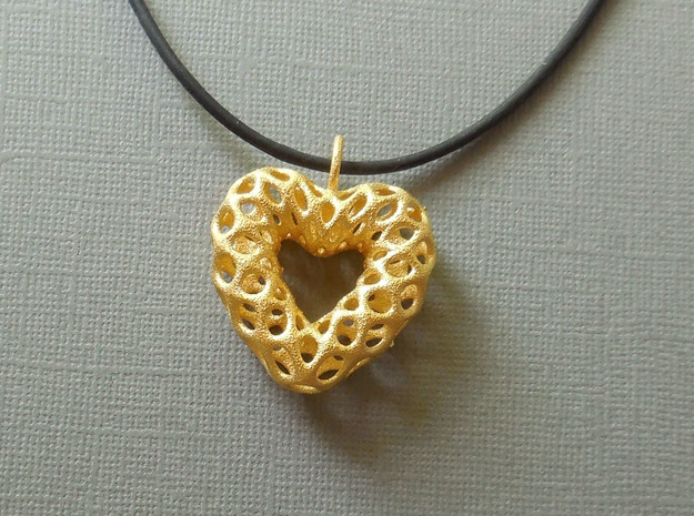 Mesh Heart  Pendant in Steel in Polished Gold Steel