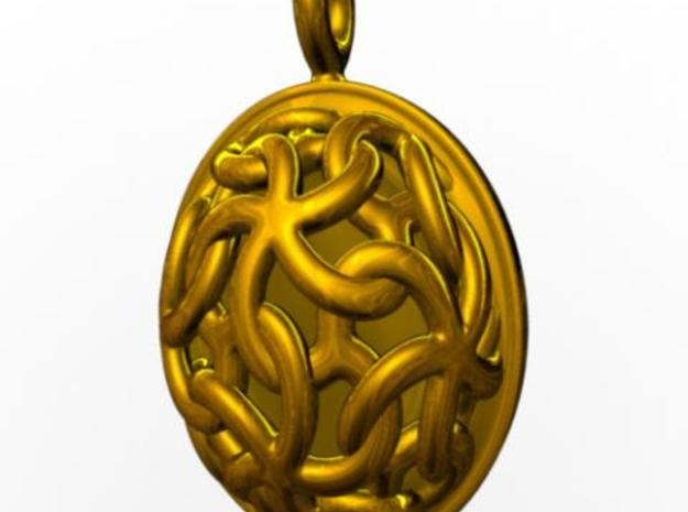 Linked Stars Pendant 3d printed Front view rendered in gold with Maya.