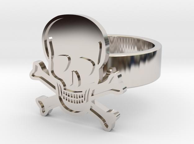 Skull & Crossbones Ring in Rhodium Plated Brass: 10 / 61.5