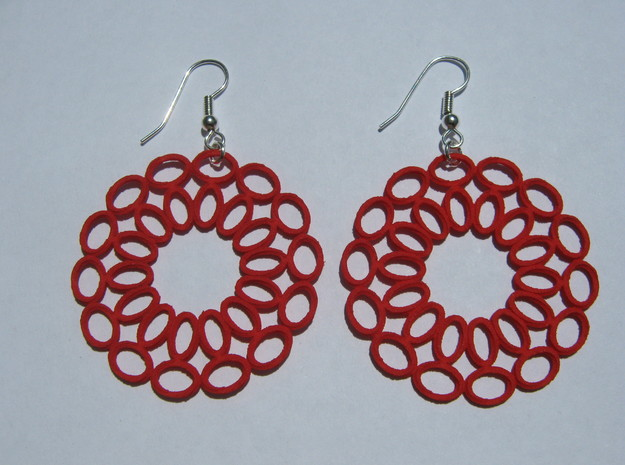 Moebius Round Earrings in Red Processed Versatile Plastic