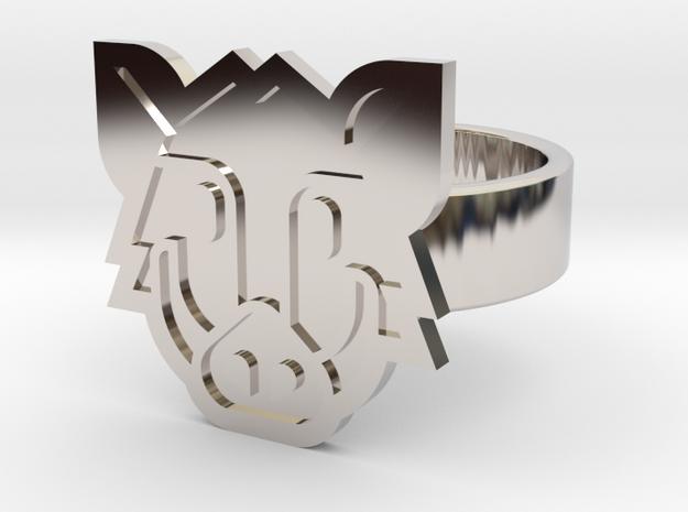 Boar Ring in Rhodium Plated Brass: 10 / 61.5