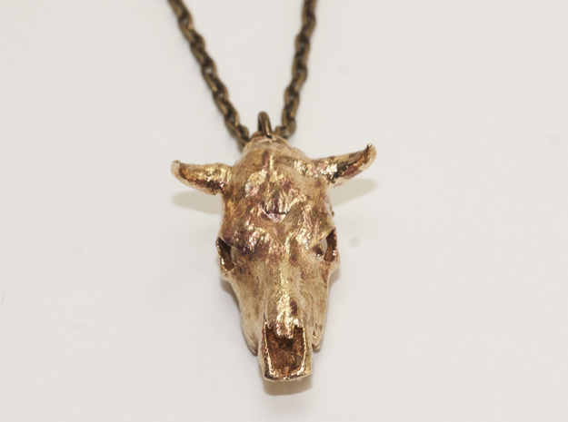 Bull With Horns Pendant 3d printed
