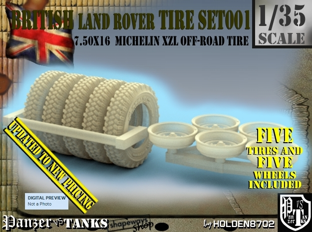 1/35 Land Rover 750x16 Tires And Wheels Set001 in Frosted Ultra Detail