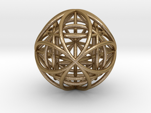 "OctaHexasphere w/ nested Platonic Solids 1.7"" (nb) in Polished Gold Steel"