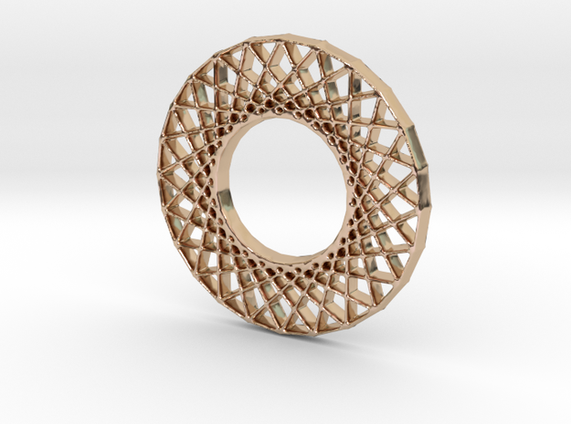 Modern Abstract Geometric Pendant in 14k Rose Gold Plated