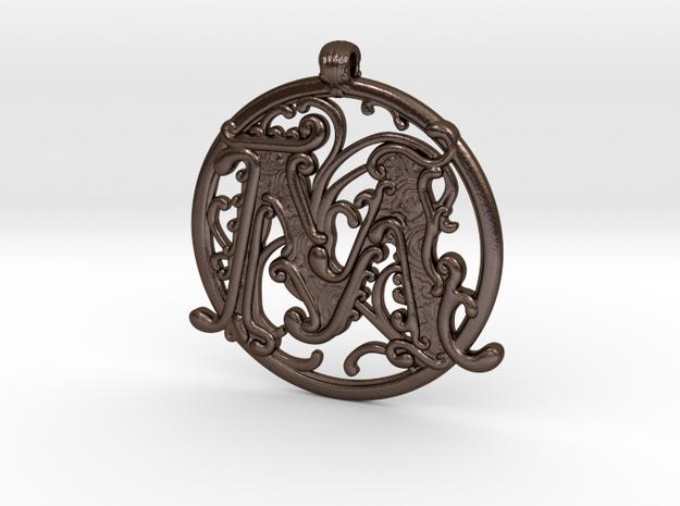 "Fantasy ""M"" Pendant in Polished Bronze Steel"