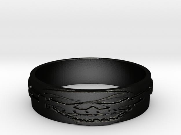 Skull Ring Size 14 in Matte Black Steel