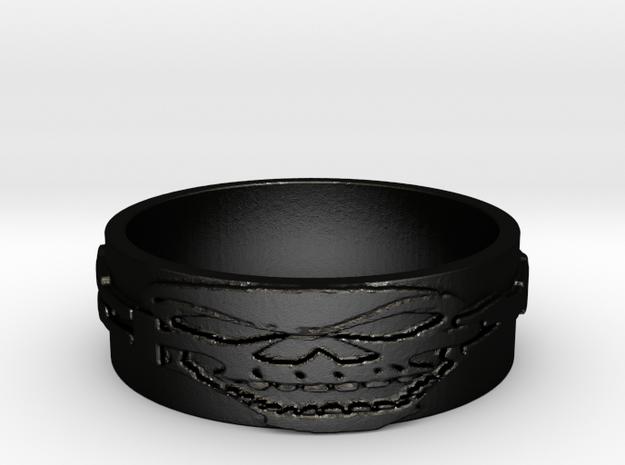 Skull Ring Size 8 in Matte Black Steel
