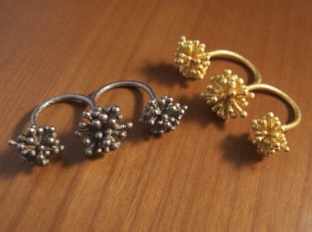 Triple Starburst Ring 3d printed matte gold and steel