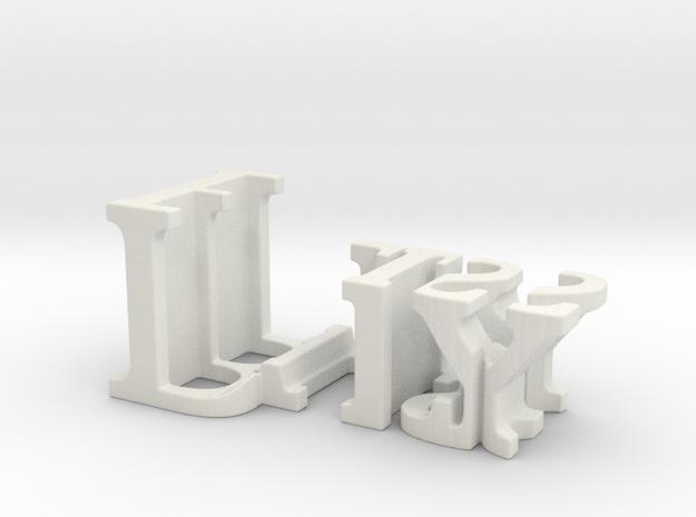 3dWordFlip: Lily/Bliss in White Natural Versatile Plastic